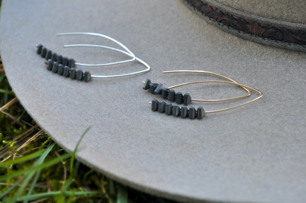 Charcoal Hematite | Petiole earrings | Ready to ship