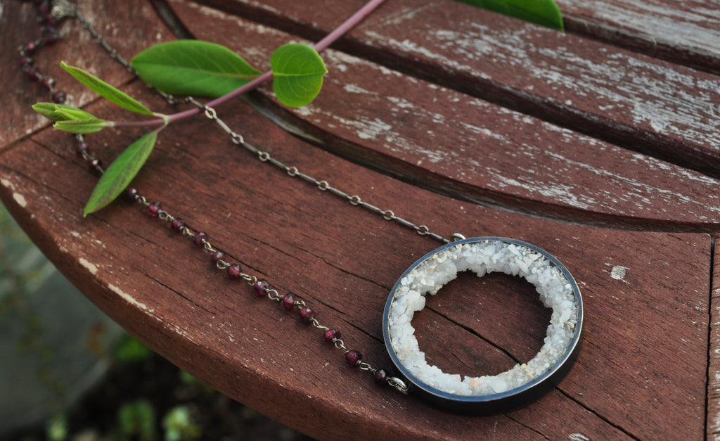 White Agate | Geode Necklace | Ready to ship