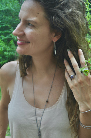 Stone choice | Leaf Husk Earrings