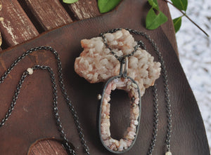 Mexican Pink Opal | Geode Necklace | Ready to ship