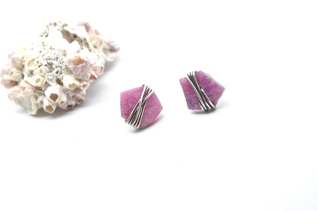 Raw Ruby | Maven Stud Earrings