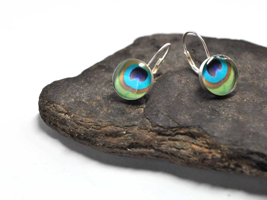 PEACOCK. Leverback Earrings. - cameraSHY cove