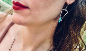 Tripod Earrings. Chrysocolla - cameraSHY cove