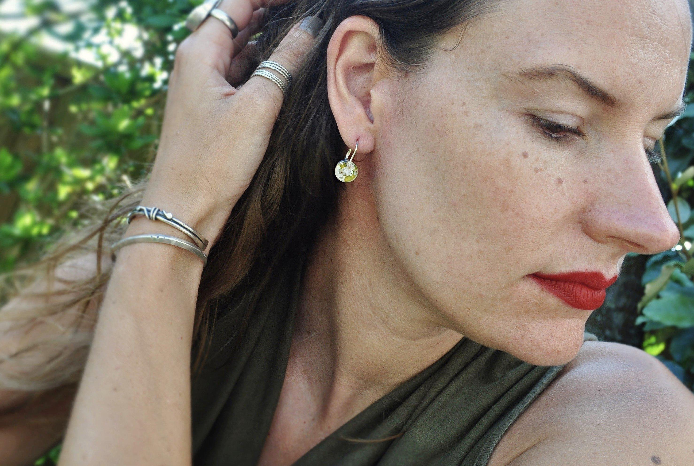 BLOOM. Leverback Earrings. - cameraSHY cove