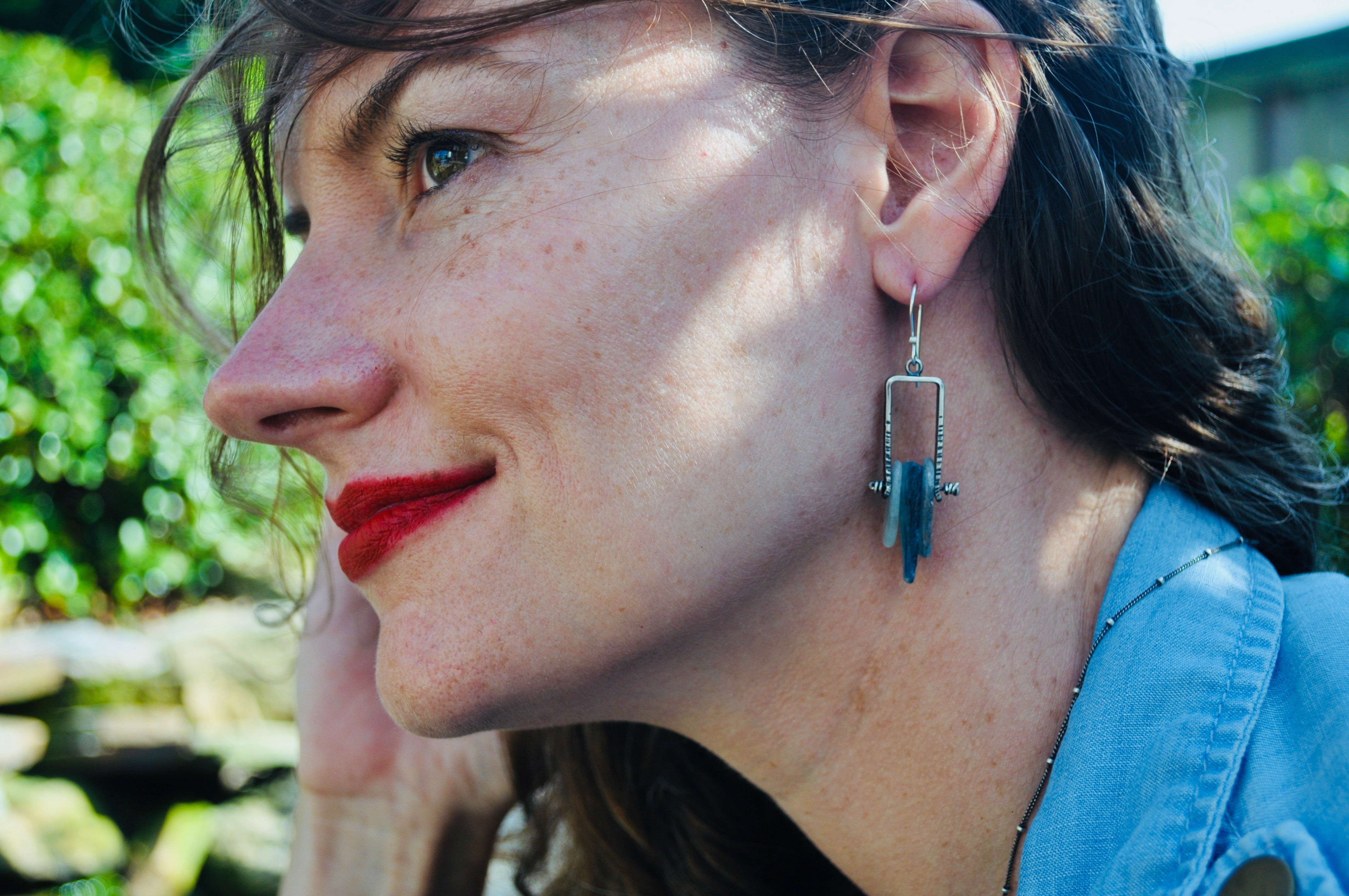 Avian Earrings. Teal Kyanite No.1 - cameraSHY cove