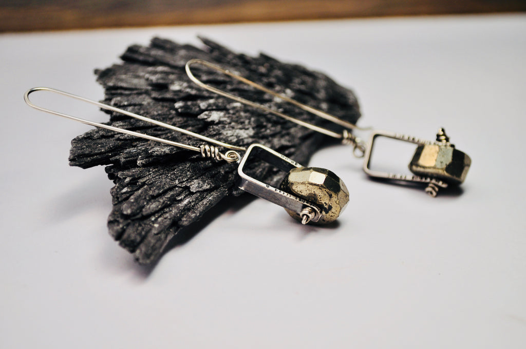 Axel Earrings. Pyrite - cameraSHY cove