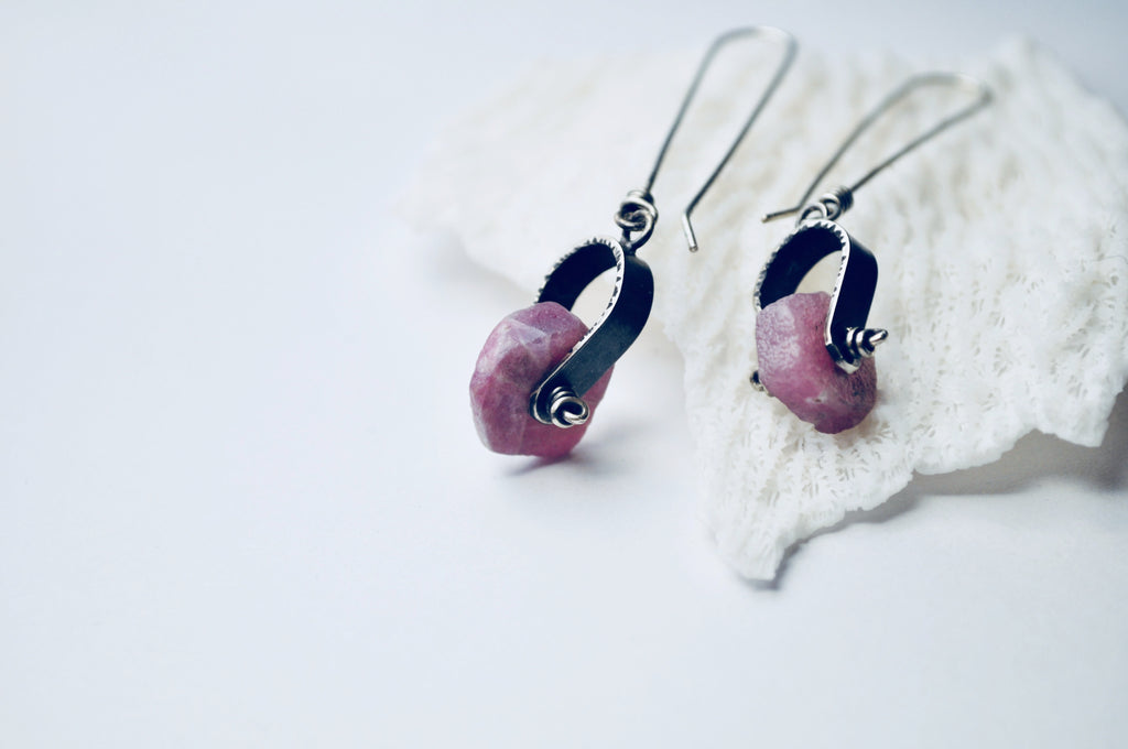 Axel Earrings. Raw Ruby - cameraSHY cove