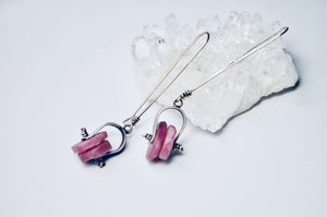 Dual Axel Earrings. Raw Ruby - cameraSHY cove