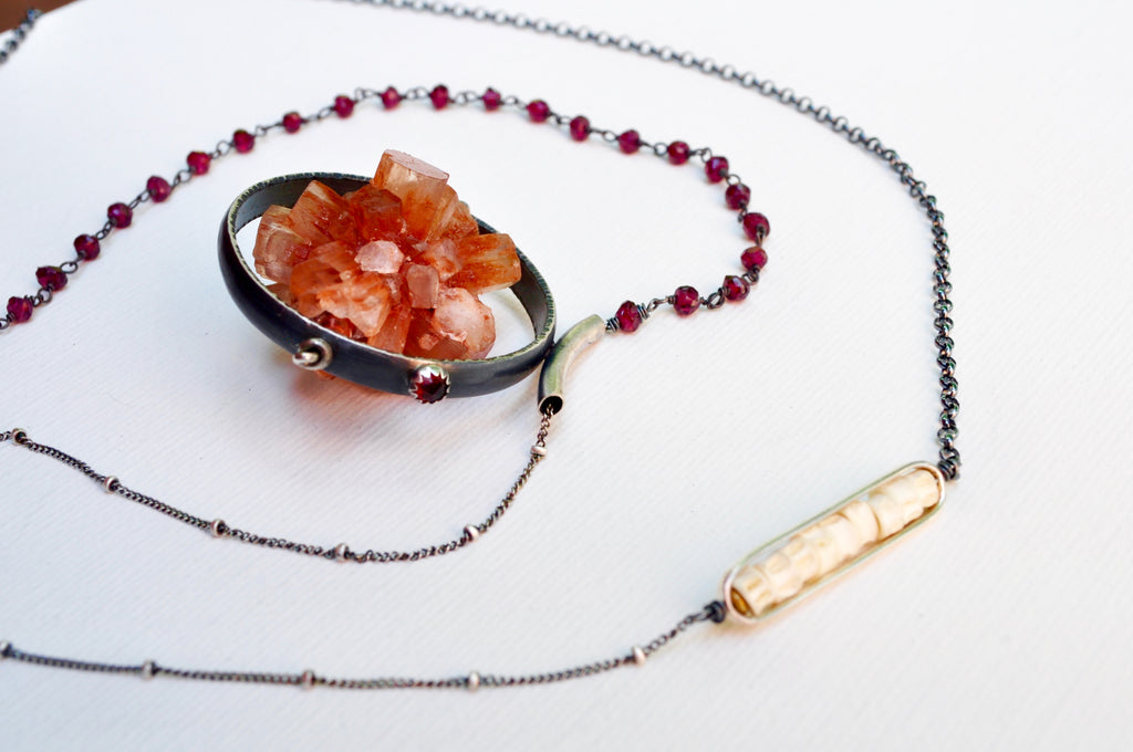 Orbit Necklace. Aragonite - cameraSHY cove