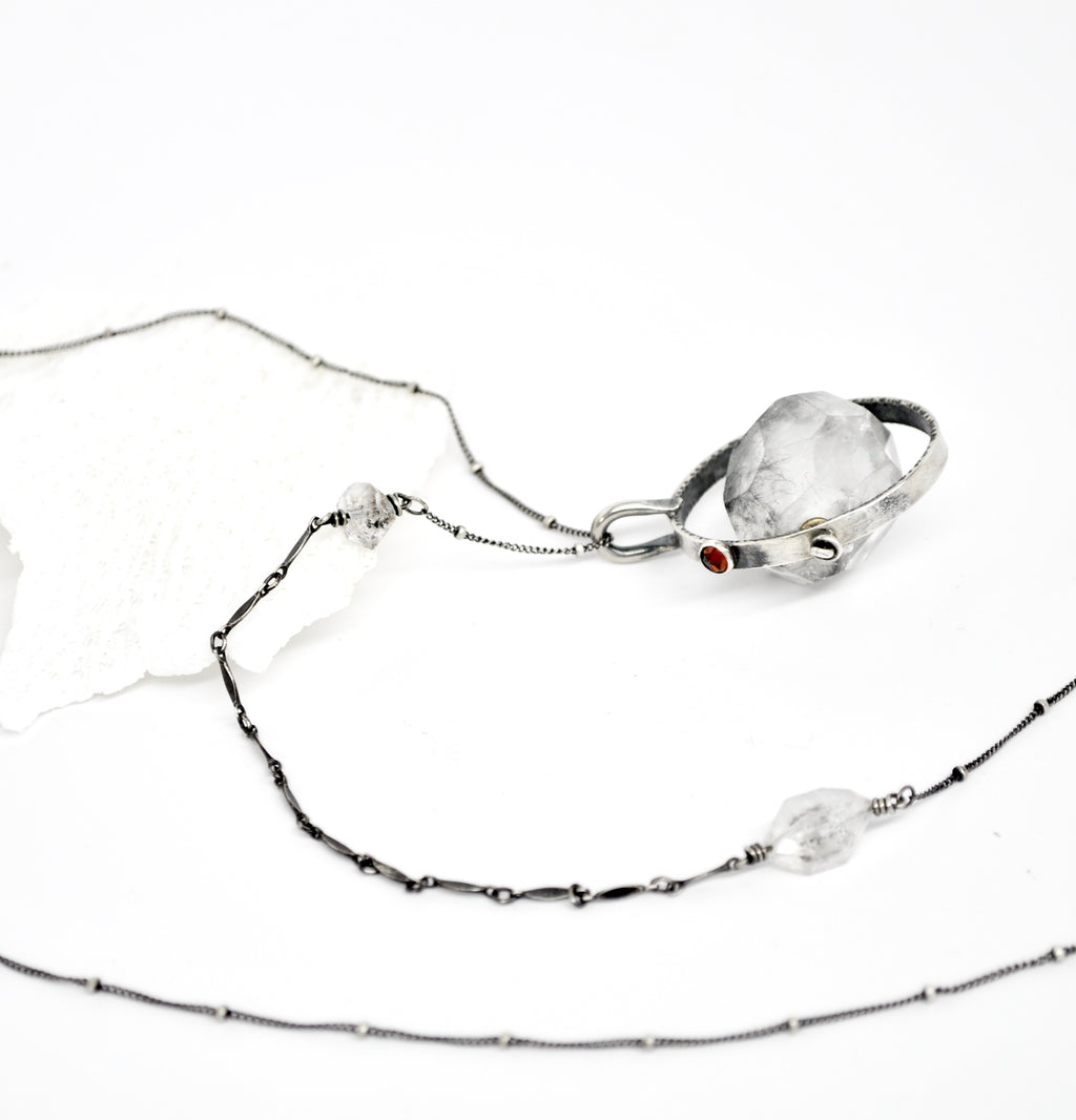 ORBIT Necklace. Tourmalinated Quartz - cameraSHY cove