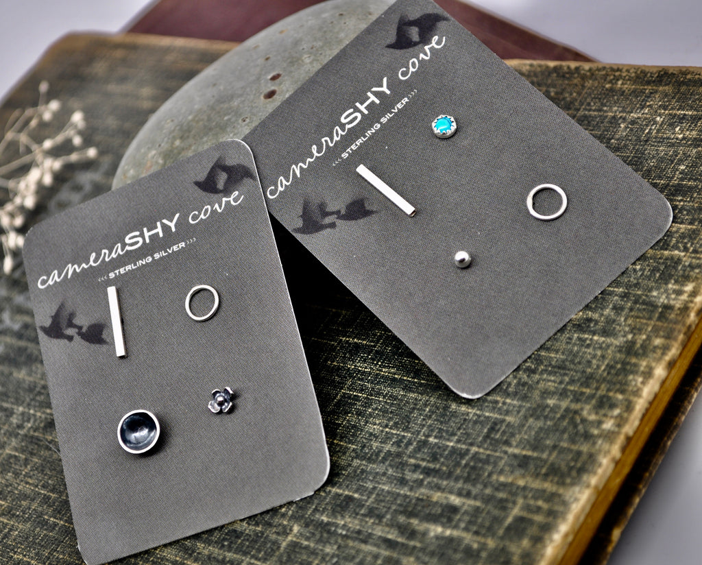 Quad pack. Sterling Mismatched set of 4 studs - cameraSHY cove