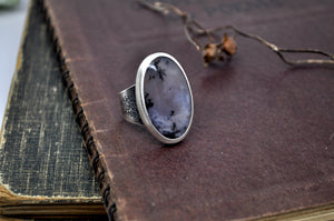 Canyon Ring. Amethyst sage dendritic agate - cameraSHY cove