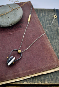 Axel Necklace. black & white & brass - cameraSHY cove