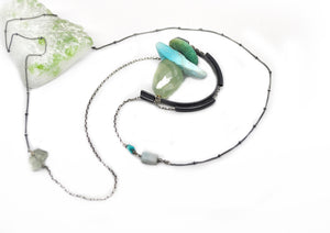 Suspension Necklace. Aquamarine & Turquoise - cameraSHY cove