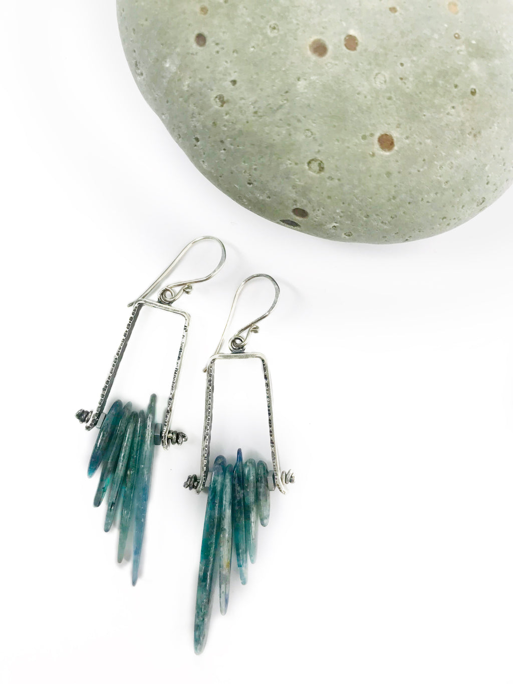 Avian Earrings. Teal Kyanite No.2 - cameraSHY cove