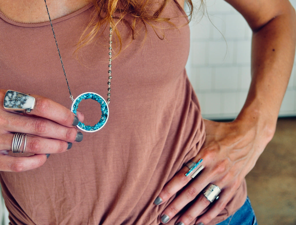 Geode Necklace / Turquoise / Ready to ship