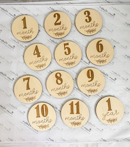 Monthly Milestone Engraved Wooden Cirlces