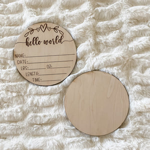 Whimsy Wooden Engraved Birth Sign