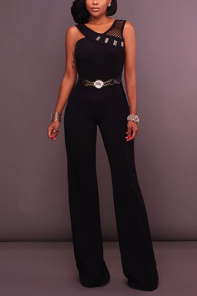 Dimpdress Metal Belt Sexy Backless Jumpsuit