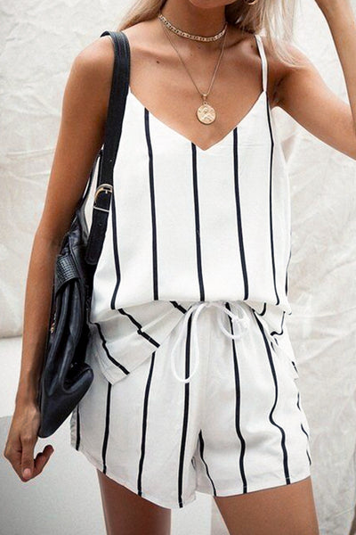 Dimpdress Camisole Stripe Shorts Set