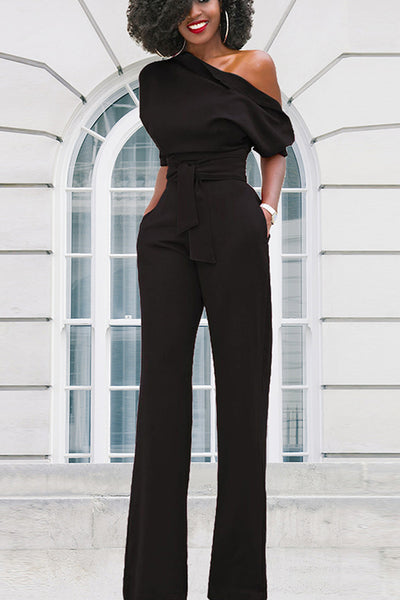 Dimpdress Solid Color Oblique Collar Lace Jumpsuit