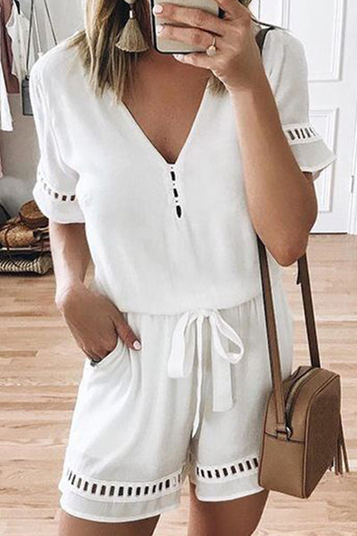 Dimpdress V-Neck Lace Belt Jumpsuit