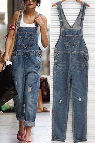 Dimpdress Denim Kangaroo Pocket Jumpsuits
