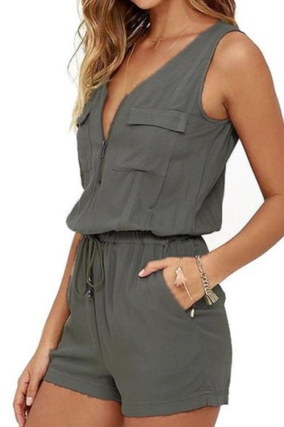 Dimpdress Zipper Sleeveless Jumpsuit