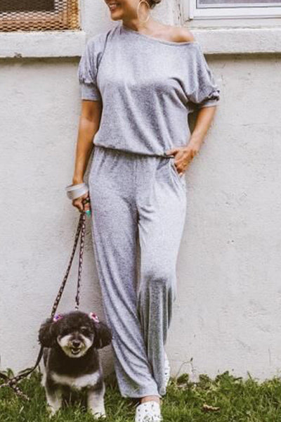 Dimpdress One Shoulder Grey Jumpsuit