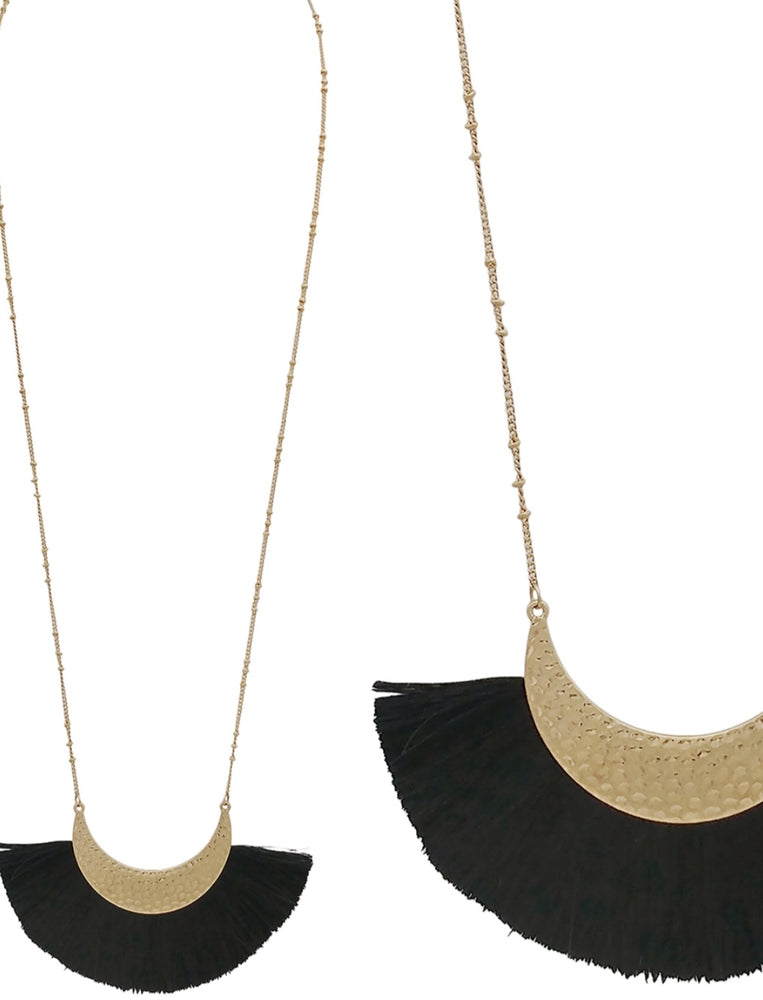 "Black Fan Fabric Tassel on Gold Half Moon 36"" Necklace"