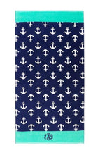 Navy Anchor Personalized Beach Towel