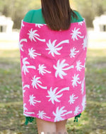Hot Pink Palm Personalized Beach Towel