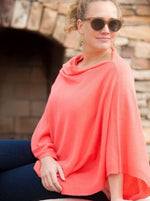 Coral Monogrammed Chelsea Poncho