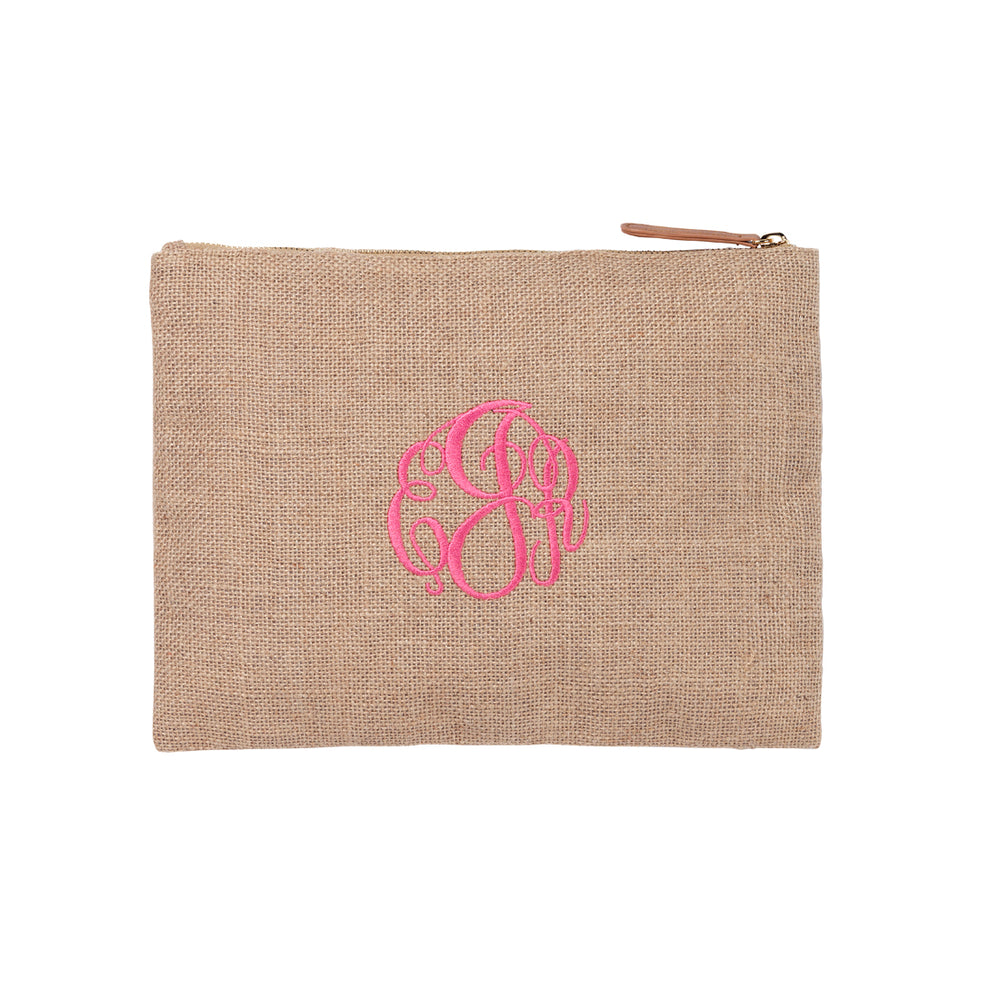 Burlap Zip Accessory Pouch