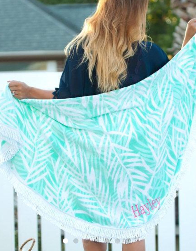 Poolside Palm Personalized Beach Towel