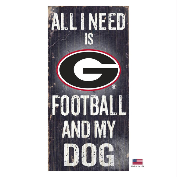 Georgia Bulldogs Distressed Football And My Dog Sign