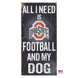 Ohio State Buckeyes Distressed Football And My Dog Sign