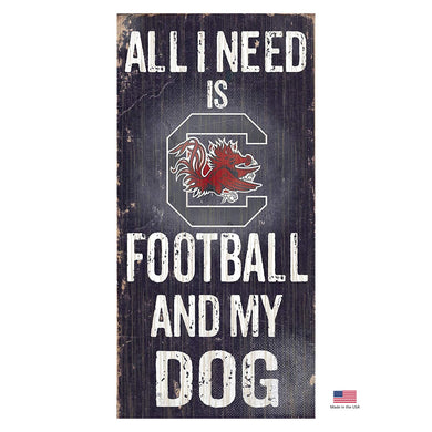 South Carolina Gamecocks Distressed Football And My Dog Sign