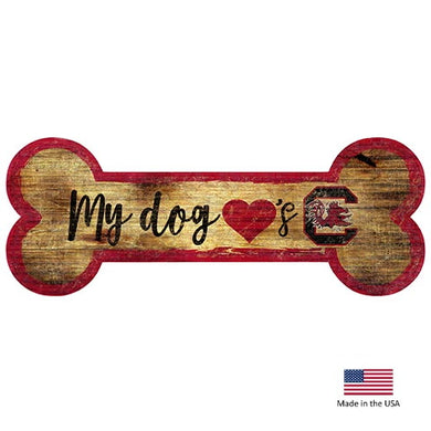 South Carolina Gamecocks Distressed Dog Bone Wooden Sign
