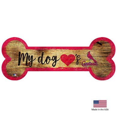 St. Louis Cardinals Distressed Dog Bone Wooden Sign