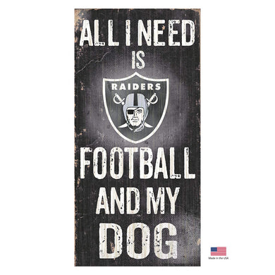 Oakland Raiders Distressed Football And My Dog Sign