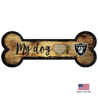 Oakland Raiders Distressed Dog Bone Wooden Sign