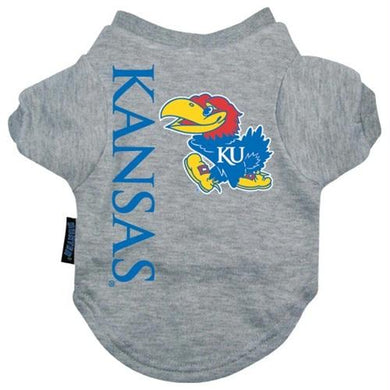 Kansas Jayhawks Heather Grey Pet T-Shirt