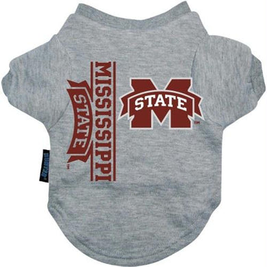 Mississippi State Heather Grey Pet T-Shirt