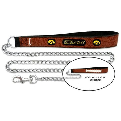 Iowa Hawkeyes Football Leather and Chain Leash