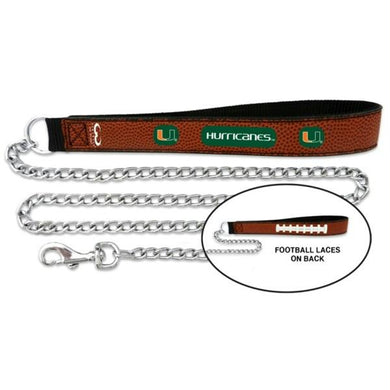 Miami Hurricanes Football Leather and Chain Leash