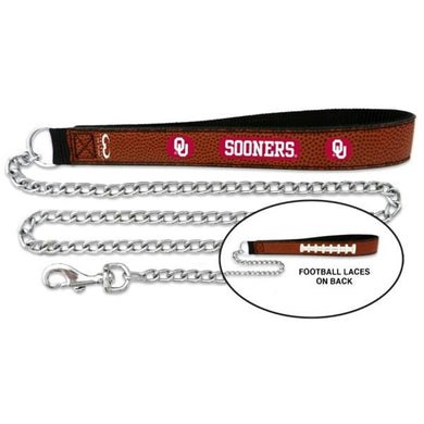 Oklahoma Sooners Football Leather and Chain Leash