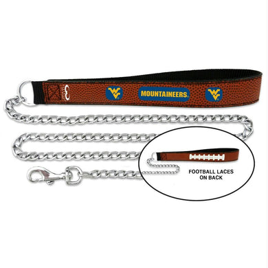 West Virginia Mountaineers Football Leather & Chain Leash