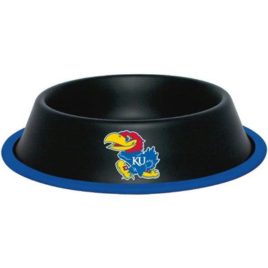 Kansas Jayhawks Gloss Black Pet Bowl