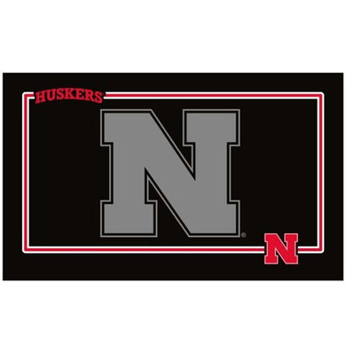 Nebraska Huskers Black Pet Bowl Mat